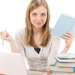 Student teenager woman with laptop book — Stock Photo
