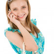 Teenager woman with mobile phone in summer — Stock Photo