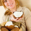 Safari happy young woman with coconut — Stock Photo
