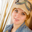Portrait young woman with pilot goggles — Stock Photo