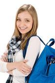 Studenten Teenager weiblich mit Schultasche — Stockfoto