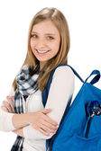 Student teenager woman with schoolbag — Stock Photo