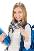 Gesture two student teenager woman with shoolbag — Stock Photo