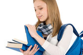 Student teenager woman with schoolbag read books — Stock Photo
