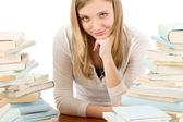 Student teenager woman with books — Stock Photo
