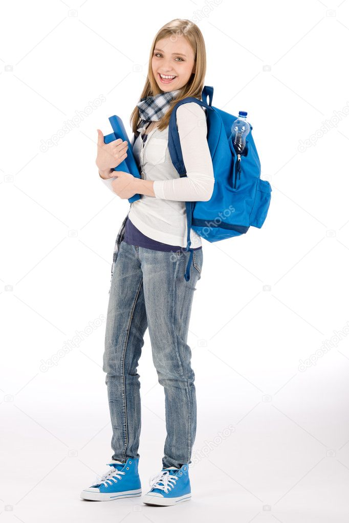 Student teenager happy woman with schoolbag book — Stock Photo #5657545