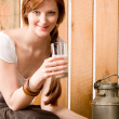 Young woman drink natural milk country healthy — Stock Photo