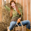 Crazy young cowgirl horse-riding country style — Stock Photo #5757158