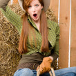 Crazy young cowgirl horse-riding country style — Stock Photo