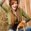 Crazy young cowgirl horse-riding country style — Stock Photo #5757162