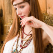 Fashion model - Hippie red-hair young woman — Stock Photo