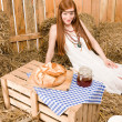 Redhead hippie young woman have organic breakfast — Stock Photo