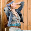 Fashion model - Hippie young red-hair woman — Stock Photo