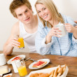 Breakfast happy couple enjoy romantic morning — Stock Photo #5757252