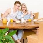 Breakfast happy couple enjoy romantic morning — Stock Photo
