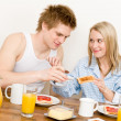 Breakfast happy couple enjoy romantic morning - Stock Photo