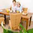 Breakfast happy couple enjoy romantic morning — Stock Photo #5757267