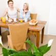 Breakfast happy couple enjoy romantic morning — Stock Photo #5757268