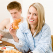 Breakfast happy couple enjoy romantic morning — Stock Photo