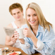 Breakfast happy couple enjoy romantic morning — Stock Photo #5757276