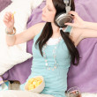 Young happy student relax listen to music — Stock Photo #5879443