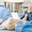 Happy student girl relaxing at high school — Stock Photo