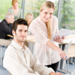Student businesspeople having meeting in office — Stockfoto