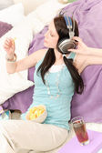 Young happy student relax listen to music — Stock Photo