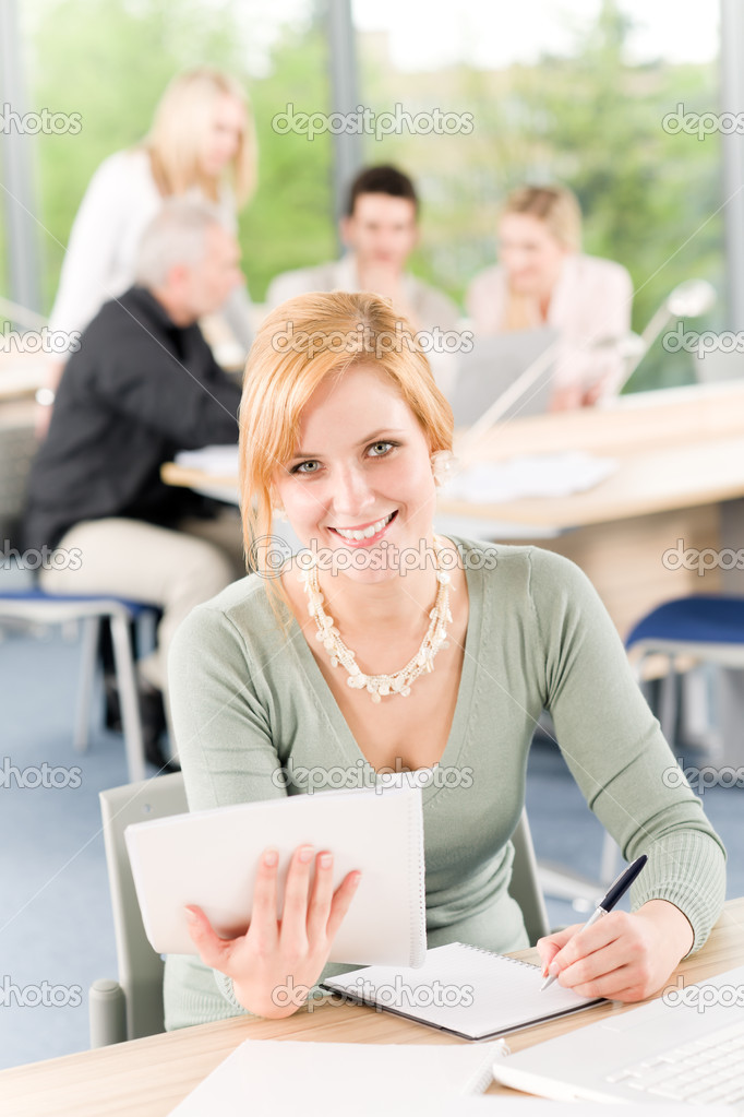 Young business students having meeting - businesswoman in front — Stock Photo #5879564