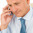 Smiling businessman on phone close-up portrait — Stock Photo #5889100