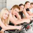 Fitness group of on gym bike — Foto Stock