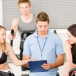 Young fitness instructor gym spinning — Stok fotoğraf
