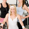 Foto Stock: Fitness young girls at gym posing