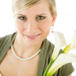 Portrait romantic woman hold calla lily flower — Stock Photo