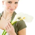 Portrait romantic woman hold calla lily flower — Stock Photo