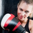 Boxing training woman with gloves in gym — Stock Photo