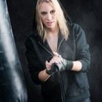 Blond boxing woman in black prepare training — Stock Photo