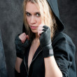 Boxing training woman in black grunge background — Stock Photo