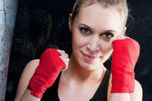 Boxing training blond woman sparring — Stock Photo