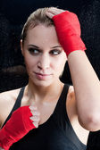 Portrait - Boxing training blond woman sparring — Stock Photo