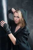 Portrait - training boxing woman blond sexy — Stock Photo