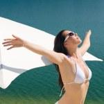 Summer beautiful woman in white bikini bra — Stock Photo #6138211