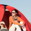 Camping happy woman sitting front of tent — Stock Photo #6138400