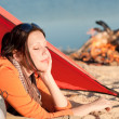 Camping woman relax in tent by campfire — Stock Photo #6138455