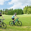 Sport happy couple riding bicycles in coutryside — Stock Photo #6138527