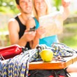 Young couple relax sunny terrace climbing gear — Stock Photo #6138720