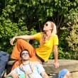 Hiking young couple backpack relax sunny day — Stock Photo #6138771