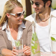 Restaurant terrace elegant couple  drink sunny day — Стоковая фотография