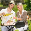Restaurant terrace elegant couple celebrate sunny day — Stock Photo #6138788