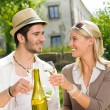 Restaurant terrace elegant couple celebrate sunny day — Stock Photo #6138789